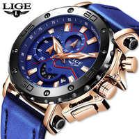LIGE nouveau hommes montres haut de gamme de luxe grand cadran militaire montre à Quartz en cuir bleu étanche sport chronographe montre pour hommes