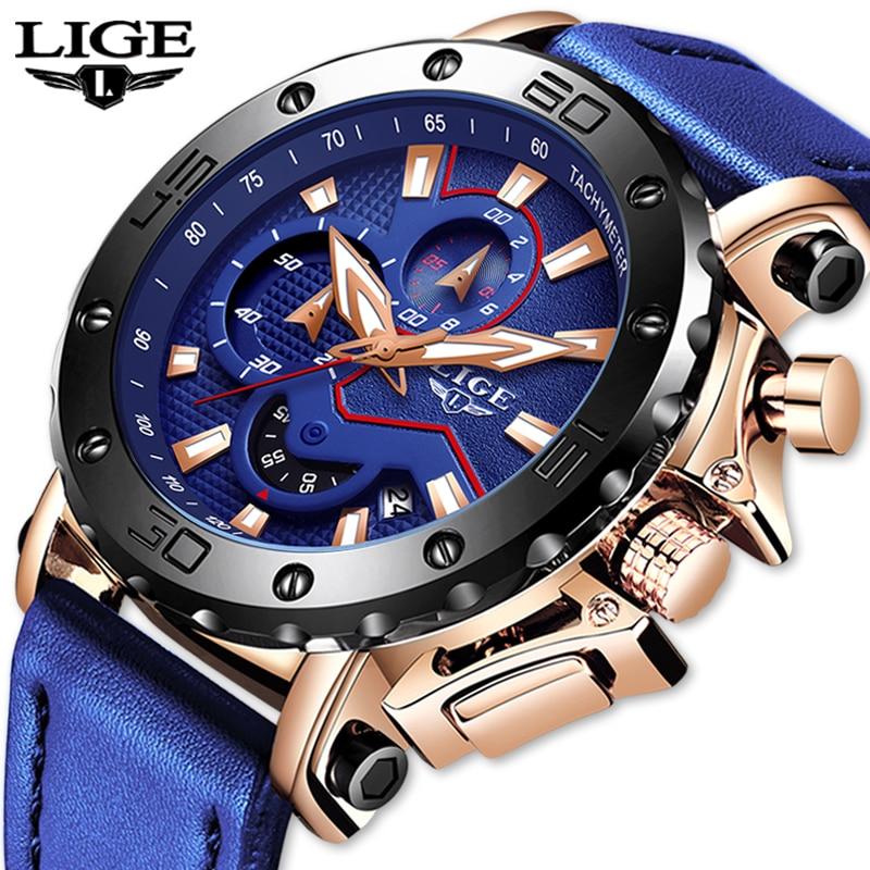 LIGE nouvelles montres pour hommes Top marque de luxe grand cadran montre à Quartz militaire en cuir bleu étanche sport chronographe montre pour hommes
