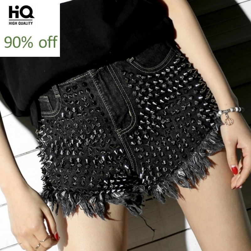 2020 Fashion Women Casual Punk Jeans Shorts High Waist Rivet Denim Shorts Ladies Button Tassel Ripped Loose Shorts Streetwear