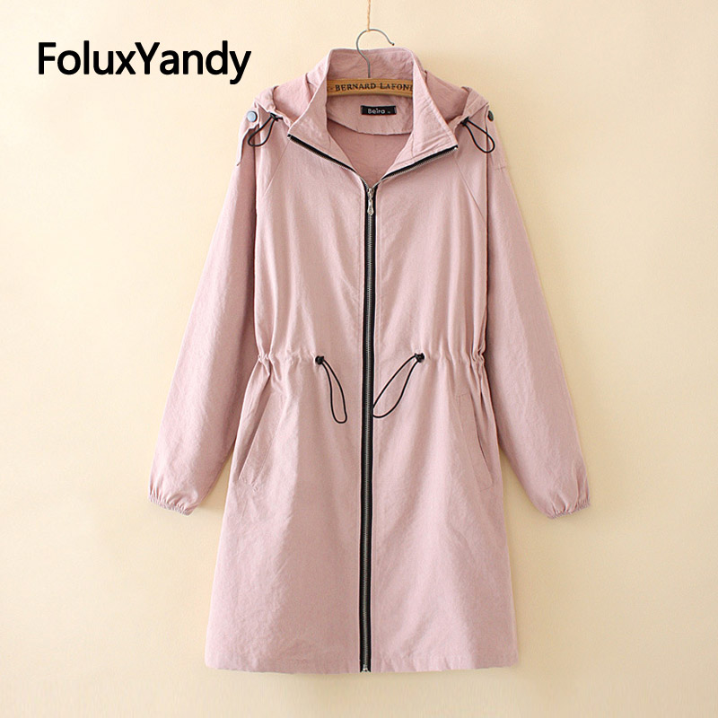 Women Spring Trench Outerwear Plus Size Casual Zipper Hooded Long Trench Coat 3 Colors KKFY4404