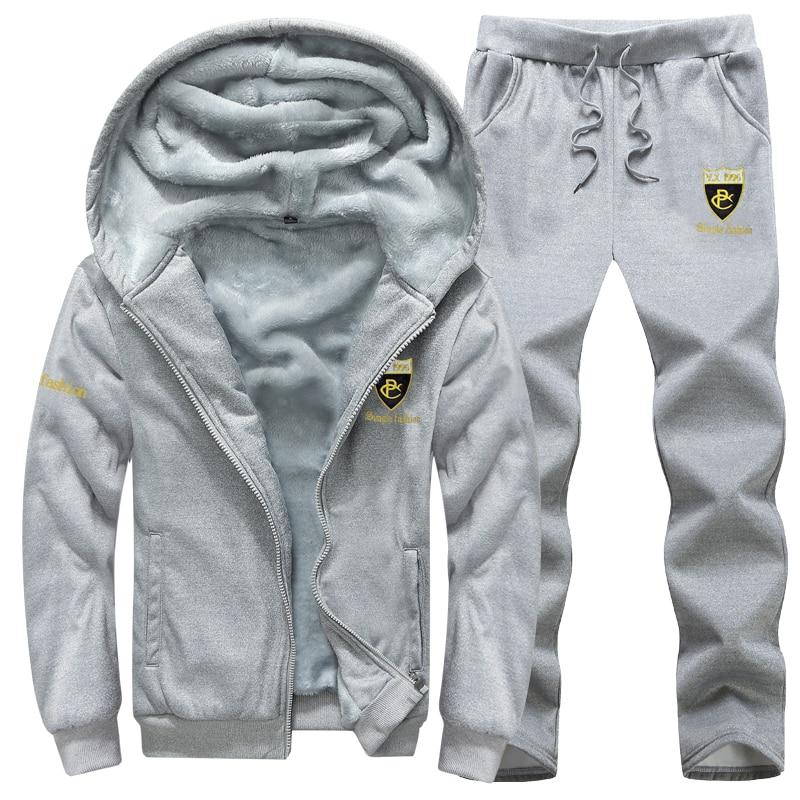 Causal Tracksuits Men Set  Hooded Thicken Fleece  2 Piece Hoodies + Sweatpant Warm Fur Liner Sportswear Suit Male Winter Suit