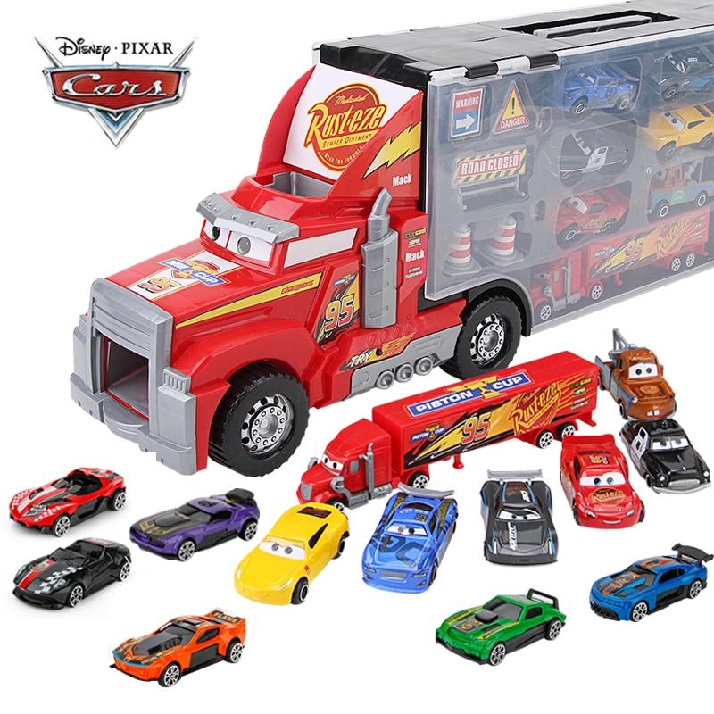 14 adet/takım Disney Pixar arabalar 3 Mack amca kamyon oyuncak araç seti yıldırım McQueen Jackson fırtına 1:55 pres döküm Model araç oyuncak çocuk hediye