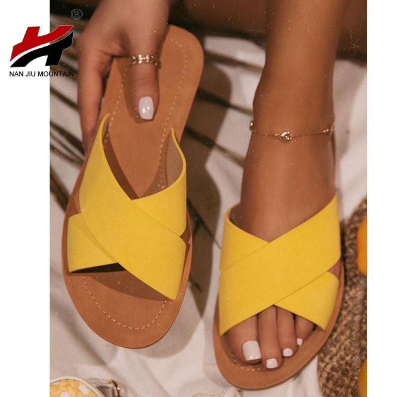 NAN JIU MOUNTAIN 2020 Women Summer Slippers Outdoor Shoes Solid Color Fashion Beach Sandals Open Toe Roman Wind Plus Size 37-41