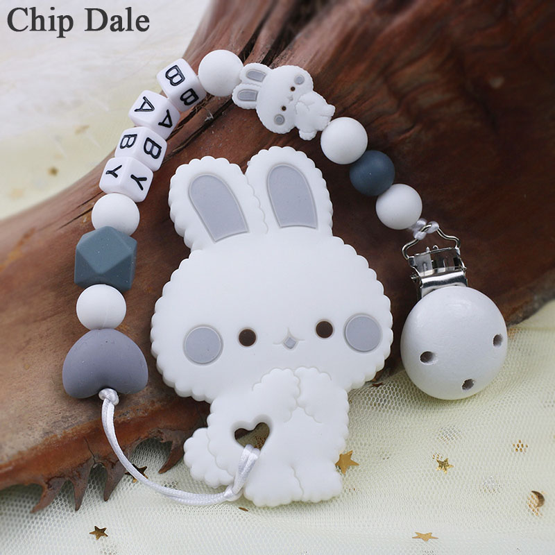 Chip Dale Personalized Name Baby Pacifier Chain Rabbit Silicone Molar Beads Silicone Pendant Teether Toy Tooth Gel Chain