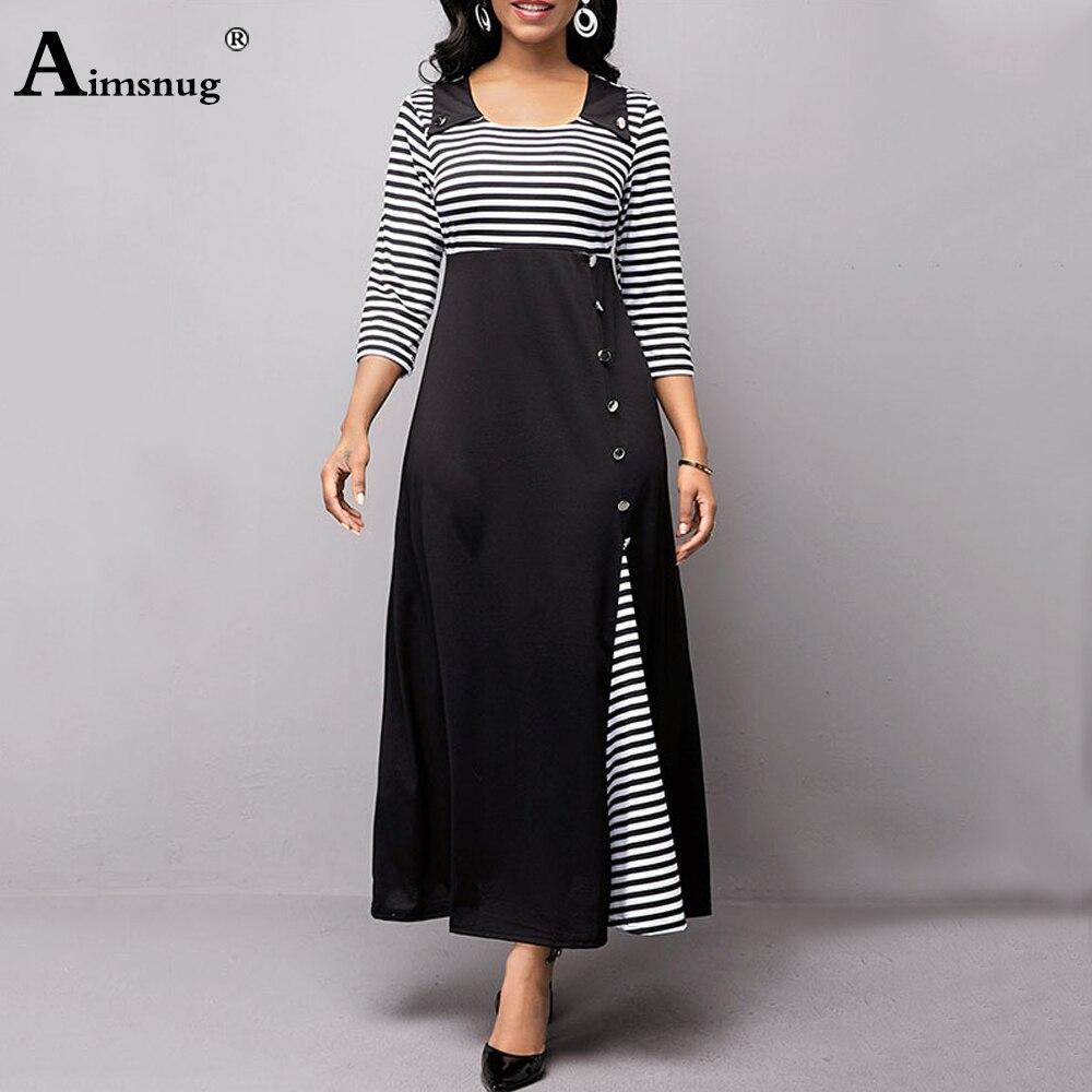Plus size 4xl 5xl Women Elegant Long Maxi Dress Patchwork Stripe Print...