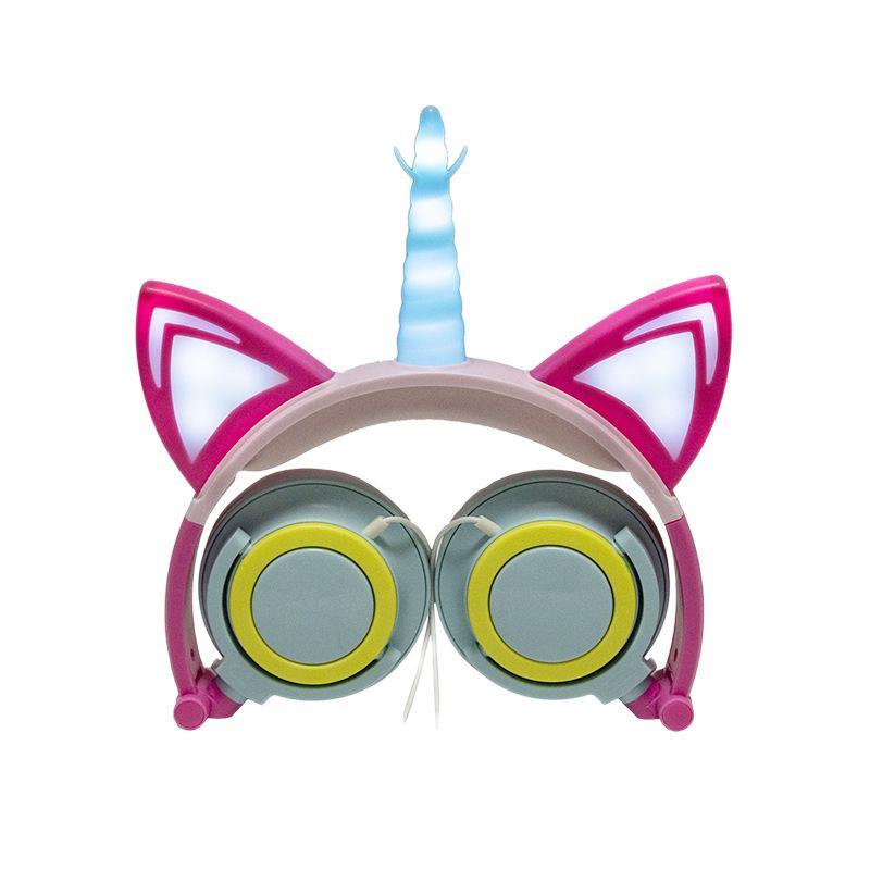 HobbyLane Cute Kids Cat Ear Headphones Wired Adjustable for Boys Girls Headband Earphone Foldable Over On Ear Game Headset
