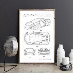 Car Patent for McLaren, artwork,Sports Car canvas wall art poster, room decor, print,blueprint, gift idea,wall Decorations