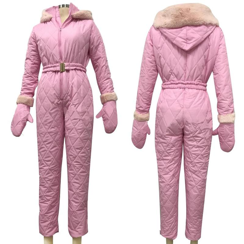 Women Winter Warm Jumpsuit Breathable Snowboard Jacket Skiing Pant Sets Warm Bodysuits For Outdoor Sport Snow Suits