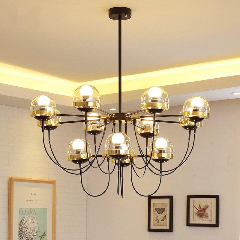 5/8/10 Lights Nordic Glass Ball Bronze Chandeliers Modern Designer Chandelier Lighting For Restaurant Living Room Black Lustre