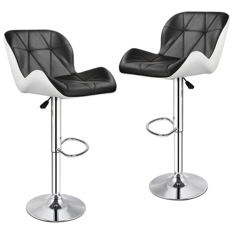 2PCS Black and White Bar Chairs Creative Modern Simplicity Height Adjustable Lifting Chair Kitchen Bar Breakfast Bar Stool HWC