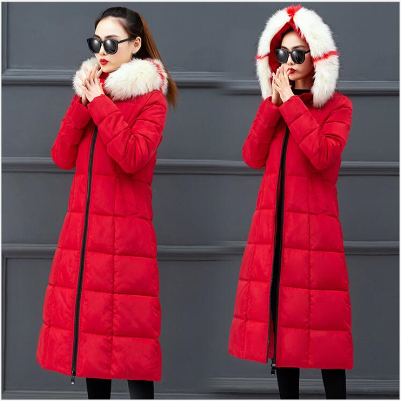 High Quality Winter Jacket Women Hooded Black Red Warm Thicken Female Coat Long Ladies   Parka   Plus Size 4XL Casaco Feminina F11