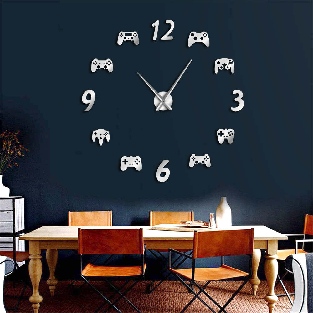 Video Game Controllers DIY Large Wall Watch Game  Decor Modern Design Freamless Giant Wall Clock Game Boys E-sports Wall Clock