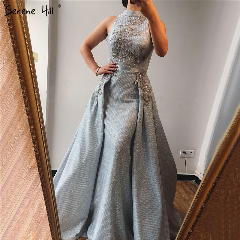Silver Dubai Sleeveless Sexy Evening Dresses 2019 Beading Sequined Mermaid Evening Gowns Design Real Photo LA70215