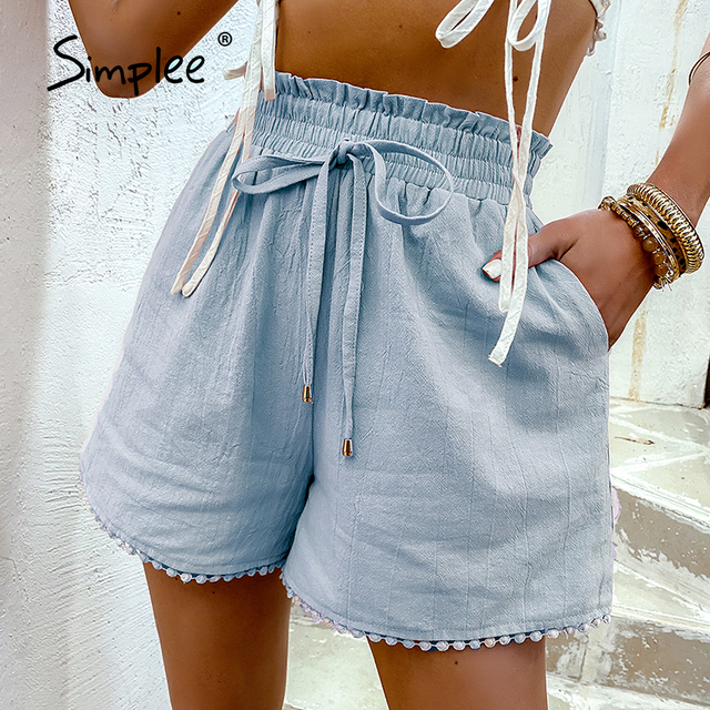 Simplee Elastic waist drawstring shorts Pocket dusty pink summer shorts woman Causal loose lace hollow out side shorts 2021 new 5