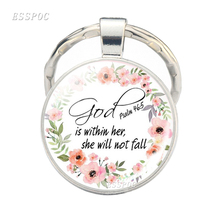 Church Souvenir Bible Verse Metal Keychain Serenity Prayer Glass Cabochon Pendant Faith Jewelry Gifts for Christian