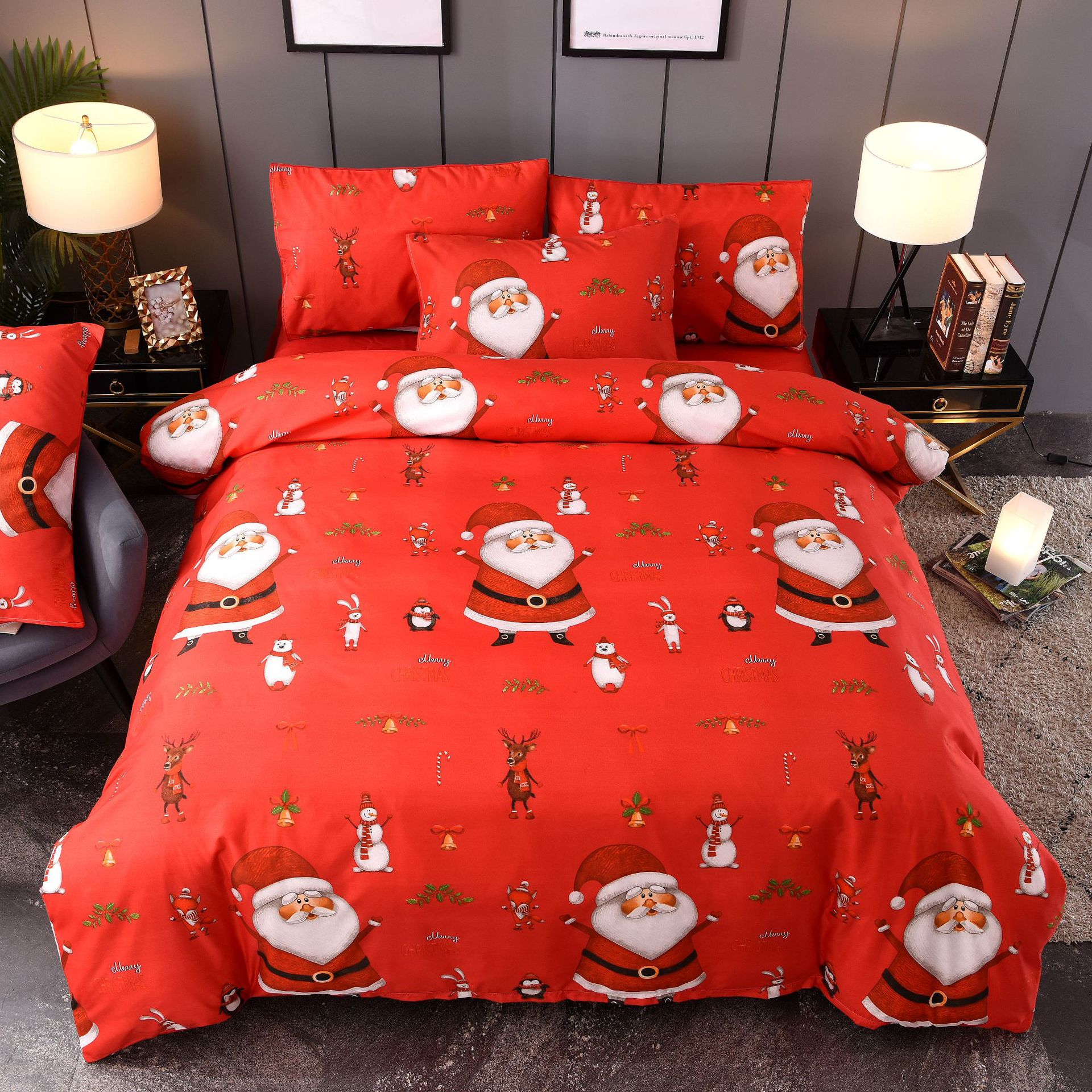 AliExpress Christmas Joy Santa Claus Happy Gift 3D Three-piece Bedding Set