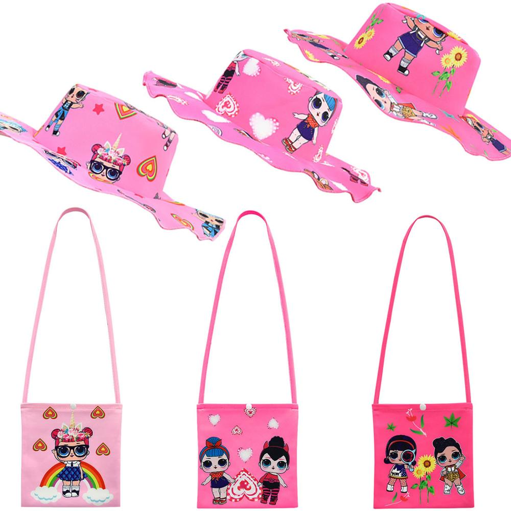 L.O.L SURPRISE! Mini Crossbody Bags Girl Shoulder Bags Cute LOL Dolls Messenger Bag Cartoon Small Wild Bags With Hat Set