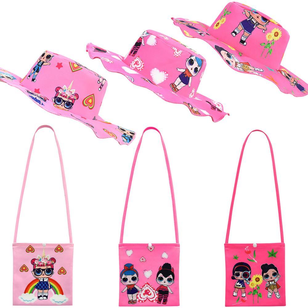 L.O.L SURPRISE! Mini Crossbody Bags Girl Shoulder Bags Cute LOL Dolls Messenger Bag Cartoon Small Wild Bags With Hat Set
