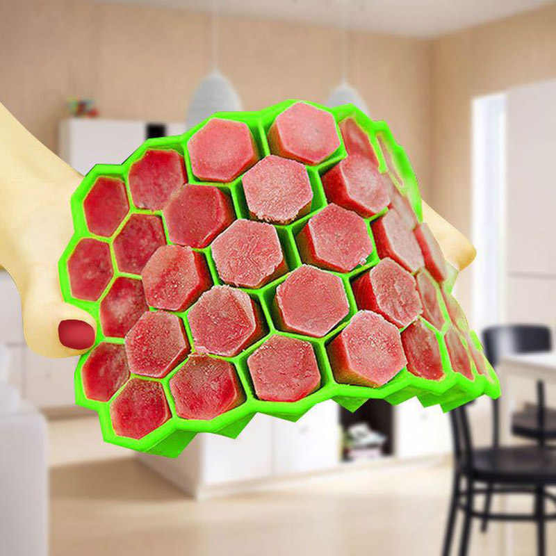 Kitchen Honeycomb Ice Cube Tray 37 Cubes Silicone Ice Cube Maker ...