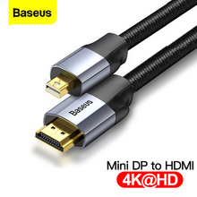 Baseus Mini DP to HDMI Cable 4K Male to Male Mini DisplayPort to HDMI Cable For Thunderbolt 1 2 Mini Display Port Adapter Cord aiffect 4k mini dp to hdmi cable mini displayport to hdmi cable thunderbolt port hdmi mini dp cable cord line premium version