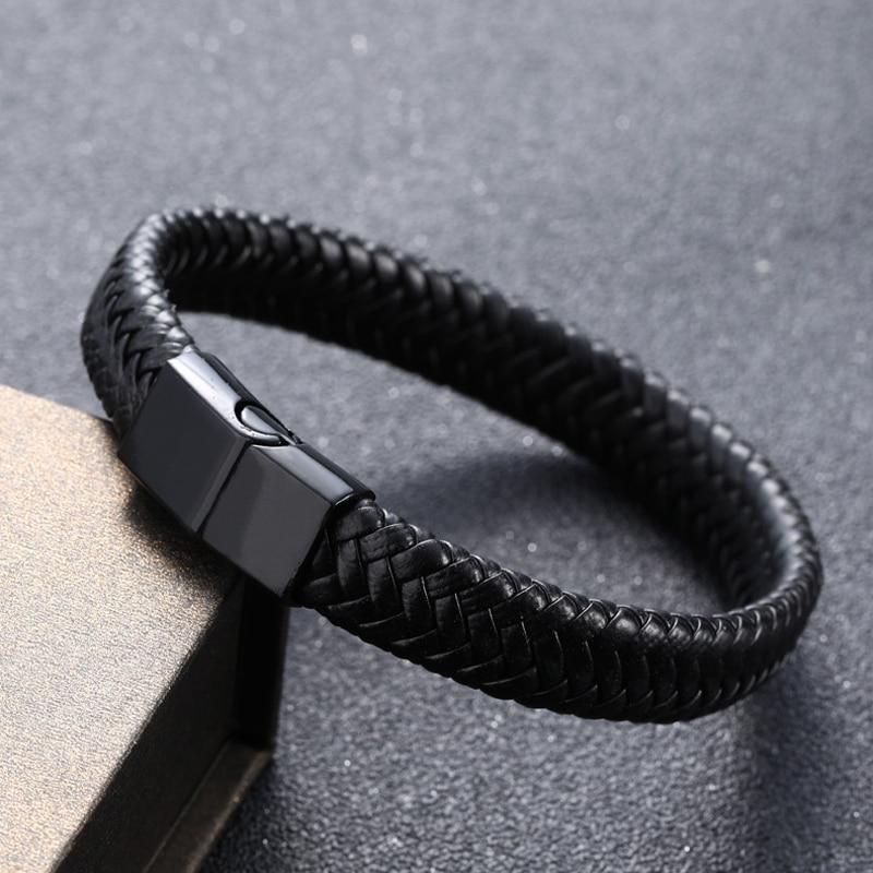 Punk Black Genuine Leather Bracelet For Men Handmade Multilayer Stainless Steel Magnetic Clasp Bracelet Homme Jewelry