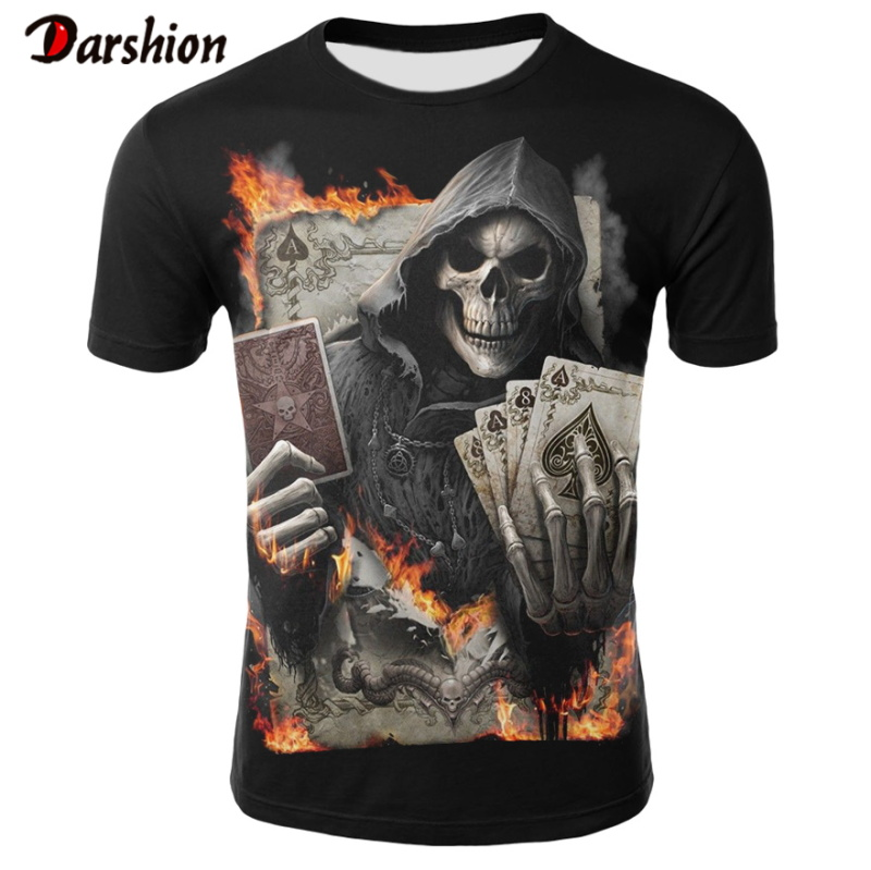 2020 NEW 3d Skull Poker Funny T Shirts Men HOT Brand Mens Casual 3D Printed T Shirts Men Clothes T-shirt Summer Top Dropshipping