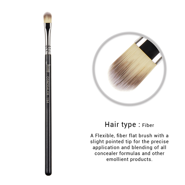 Jessup 1pc Professional Make up Brush Fibre Hair Concealer Eyeliner Blending EyeShader Lip Black- Silver Beauty Cosmetic Tool 4
