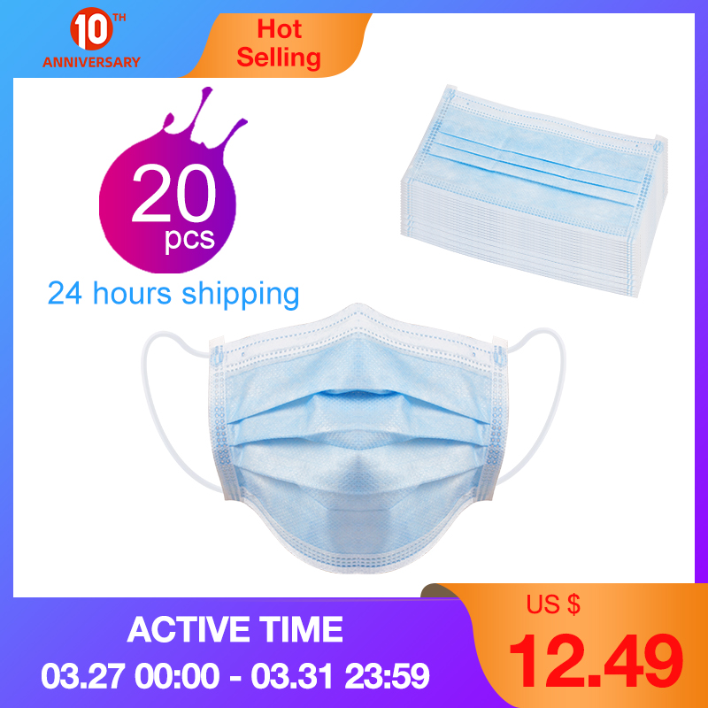 Disposable Mask 20/40/100PCS Prevent Bad Smell Mouth Face Mask Anti Dust Earloops Weared Provide Outdoor Personal Protecion