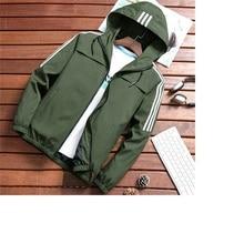Men's Casual Striped Bomber Jacket Men 2020 New Trend Hoodie Baseball Collar Streetwear Coat Male Fashion Windbreaker Jackets