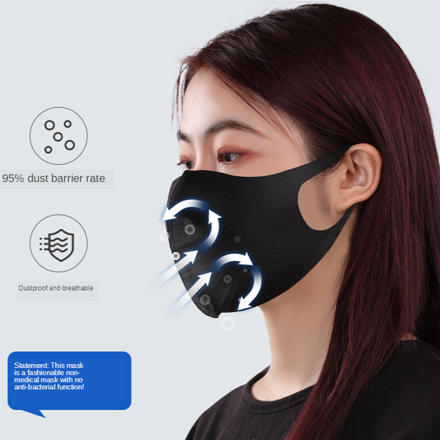 anti dust mask  Sponge PM2.5 Black mouth Polyester Fabric Mask filter Windproof Mouth-muffle bacteria proof Flu Face masks Care 3