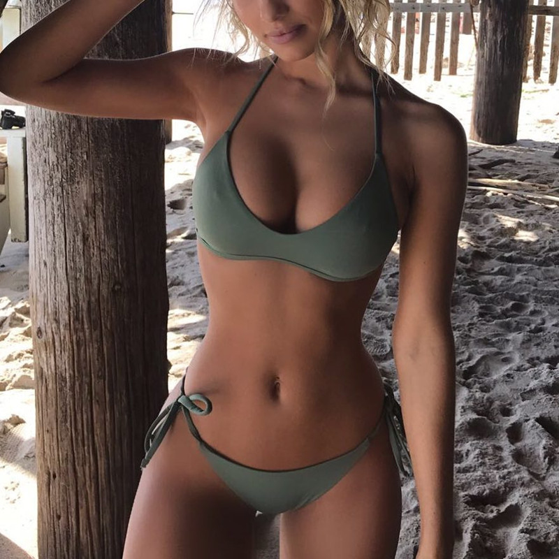 Sexy Triangle Bikini Ary Greem Women Swimwear Bandage Bikini Summer Beach Push-up Padded Bra Bathing Swimsuit
