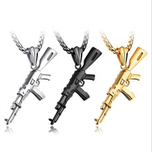 Men Titanium Steel machine gun Pendant Necklace so233