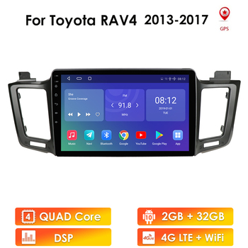 2GB+32GB Android 10 2 Din Car Radio Player for Toyota RAV4 2013 2014 2015 2016 2017 RAV 4 GPS Navigation WIFI Stereo Multimedia image