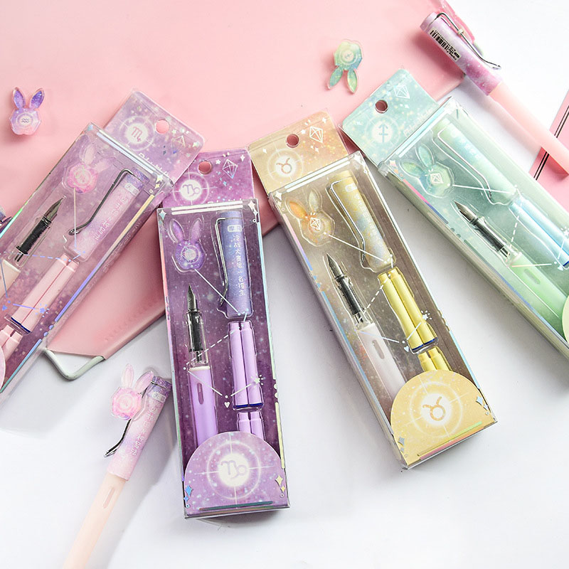 1Set Kawaii Starry Sky Fountain Pen Cute High Quality Ink Pen Witn Ink Sac For Gifts Writing School Office Supplies