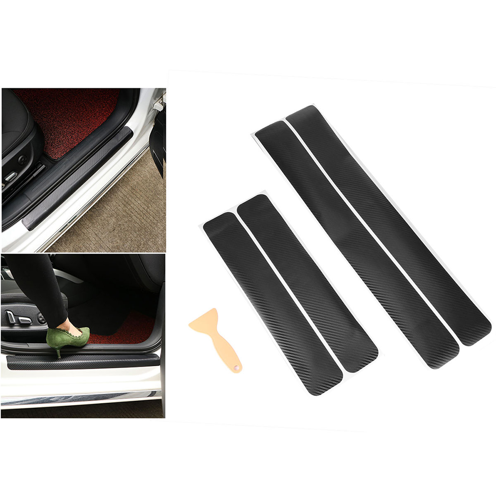 AOZBZ 4 Pcs Car Door Sill Protection Films Anti Scratch Carbon Fibre 3D Decal With Scraper For All Cars