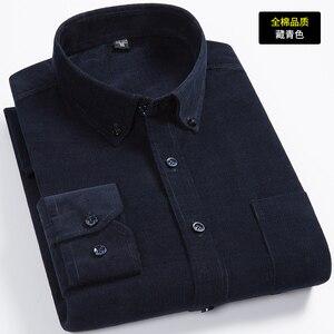 Image 3 - הגעה חדשה אופנה סופר גדול טהור כותנה קורדרוי סתיו גברים ארוך שרוול מזדמן רופף גדול מזדמן חולצות בתוספת גודל M 7XL 8XL