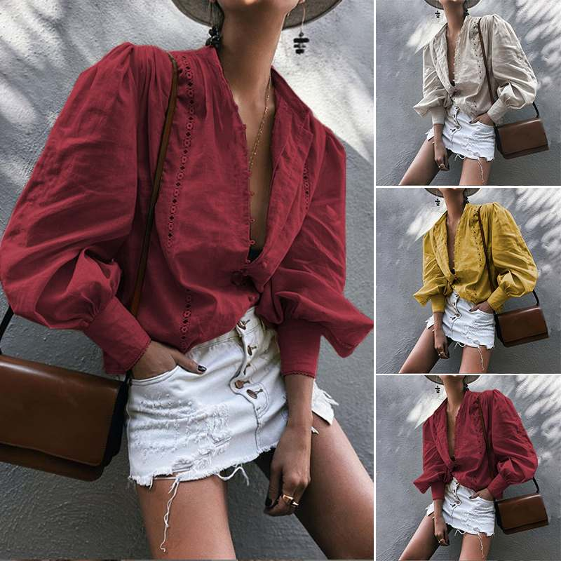 Women's Lantern Sleeve Blouse 2020 ZANZEA Fashion Button Shirts Work Blusas Female Lace Patchwork Tops Plus Size Tunic Chemise 7