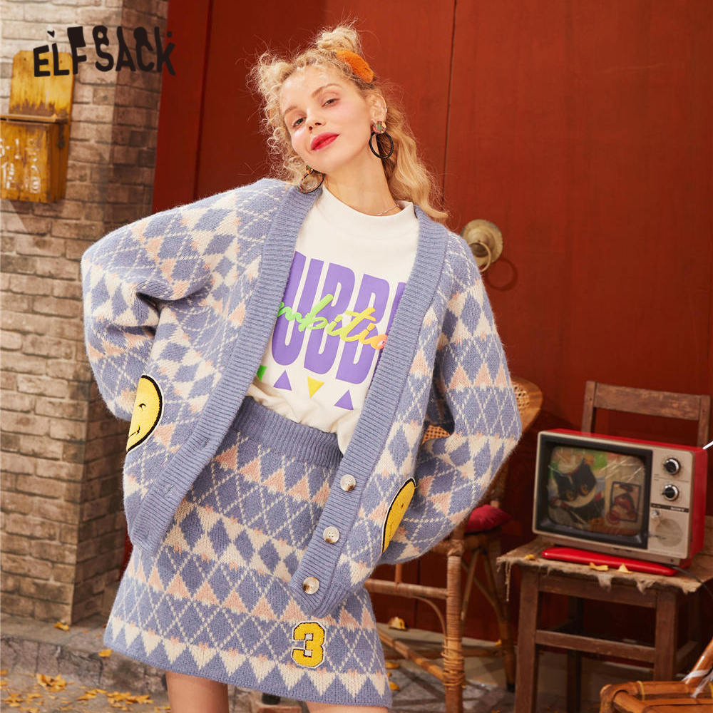ELFSACK Blue Argyle Print Knit Causal Matching Sets 2020 Spring Orange Korean Style Long Sleeve A Line Ladies Two Piece Suits