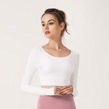Yoga Shirt Cross Back Running Sport Shirts Long Sleeve Comfortable Sports T-shirt Gym For Women Fitness Top long sleeve top with cross back