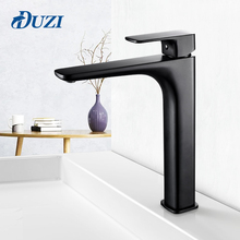 Bathroom Sink Faucet Solid Brass Basin Faucet Single Hole Cold And Hot Water Mixer Tap High Matte Black Square Taps Deck Mounted