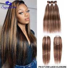 2x6 хайлайтер P4/27 бразильские волосы плетение пряди с закрытием человеческие волосы пряди с кружевной застежкой Remy волосы отбеленные узлы