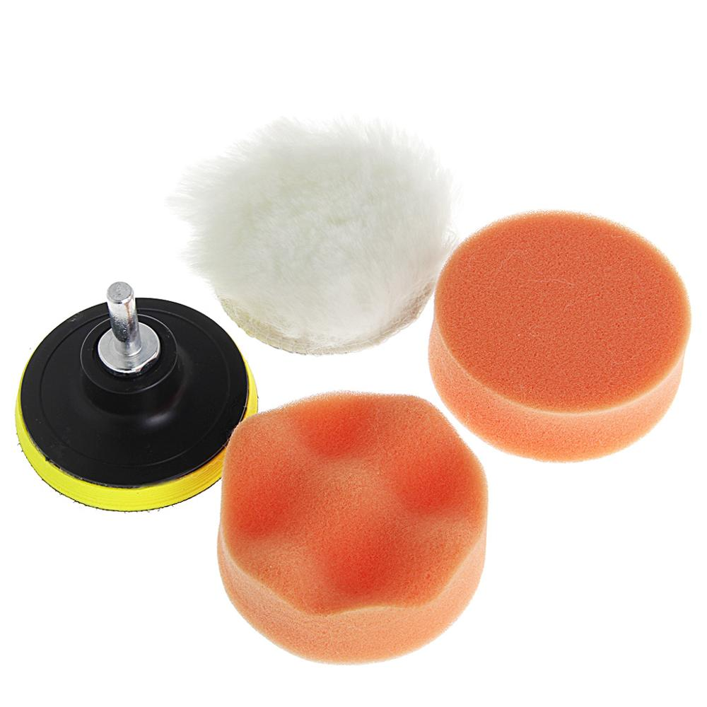 5Pcs 4 Inch 100mm M10 Sponge Waxing Buffing Polishing Pad Kit With Drill Adapter