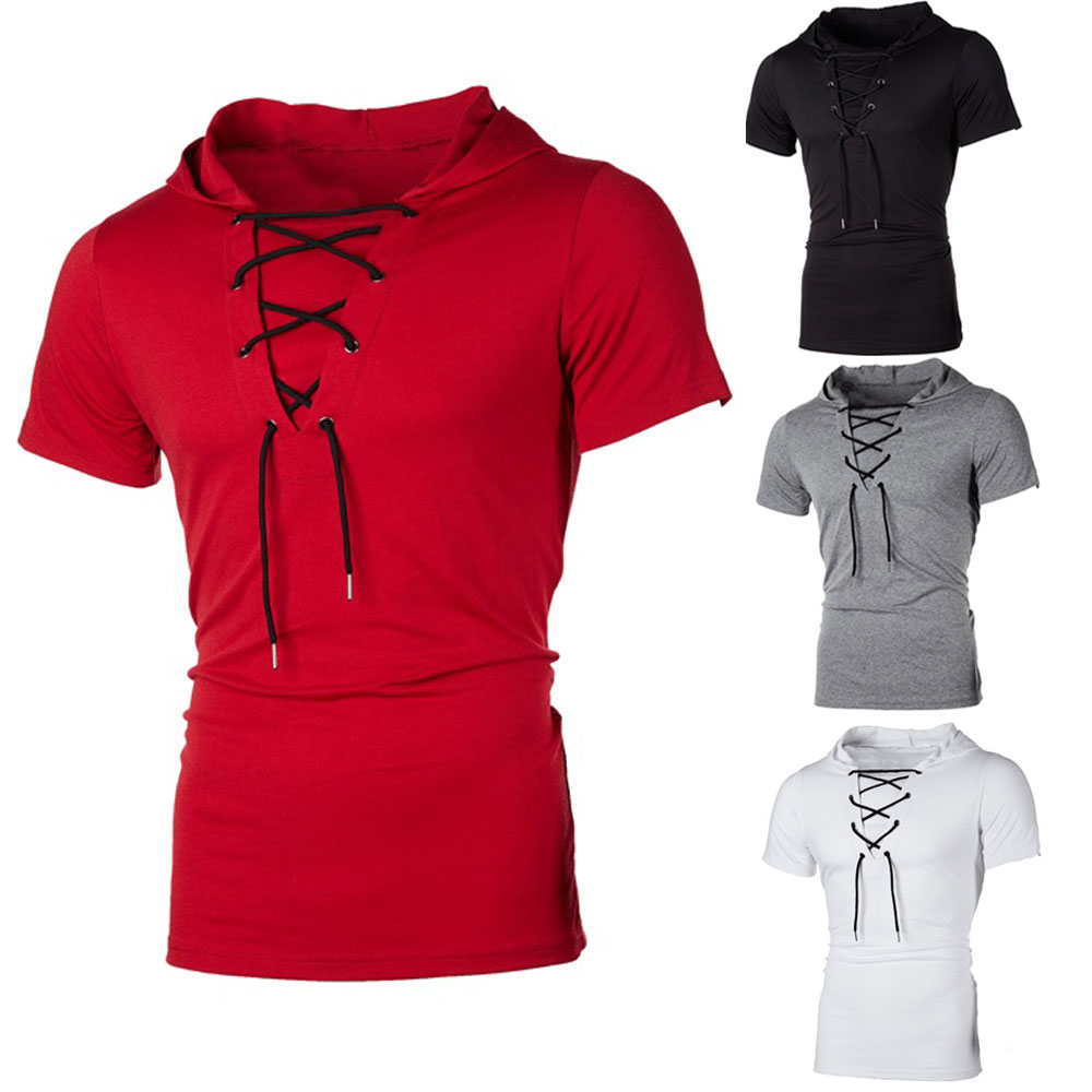 H7a6eb7abe8994c8bbf5bf5154d79a035R New Men Hoodies Short Sleeve Slim Solid Hip-hop Fitness Workout Gym Hooded Tee Muscle Sweatshirts arrival Summer Casual Top Hot