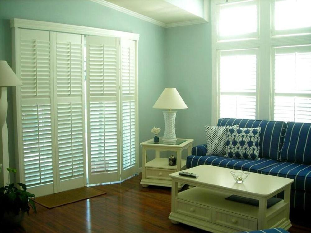 Custom Basswood Plantation Shutters Wooden Blinds Solid Wood Shutter Louvers PS287