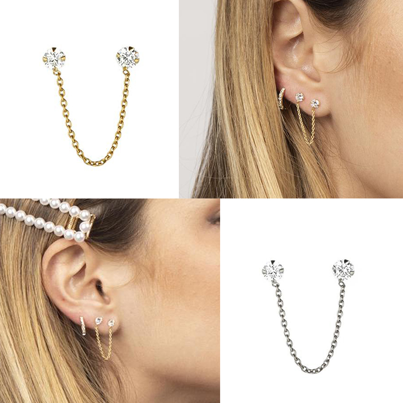 1 Pcs Pretty 925 Sterling Silver Earrings Korean Hip Hop Four Claw Inlaid Zircon Chain Threader Drop Cuff Earrings Unisex A30
