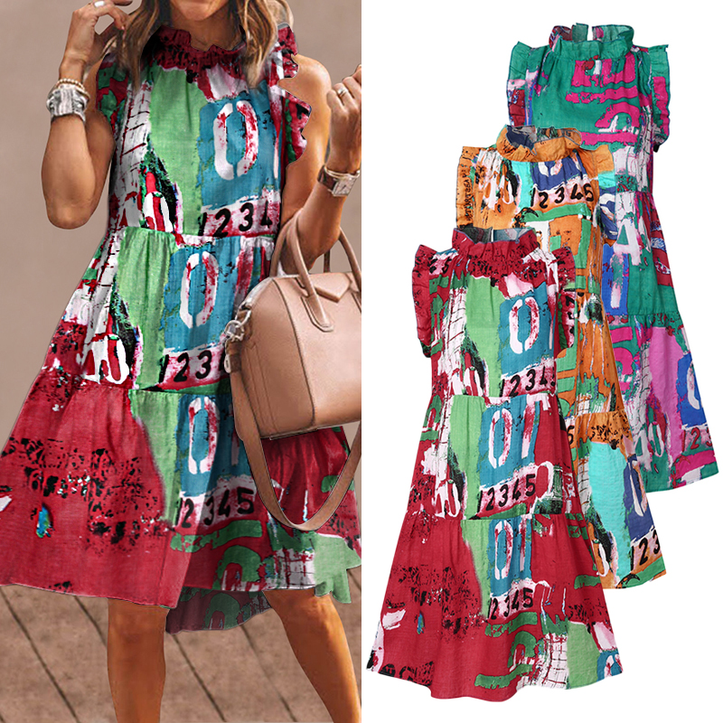 Summer Short Dress Women Sexy Sleeveless Ruffled Dress Beach Holiday Sundress 2021 VONDA Bohemian Vestidos Plus Size Robe Femme 6