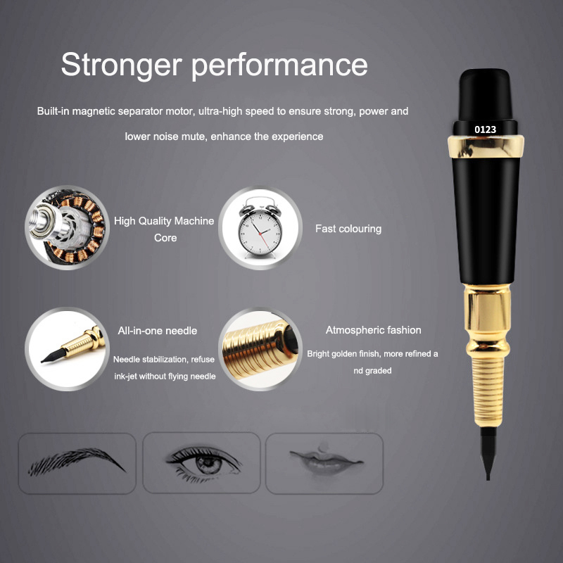 Pro Tattoo Machine Forever MAKE UP Pen For Eyebrows Tattoos Permanent Makeup Machine Cosmetics With Ink Cartridges Power Supply