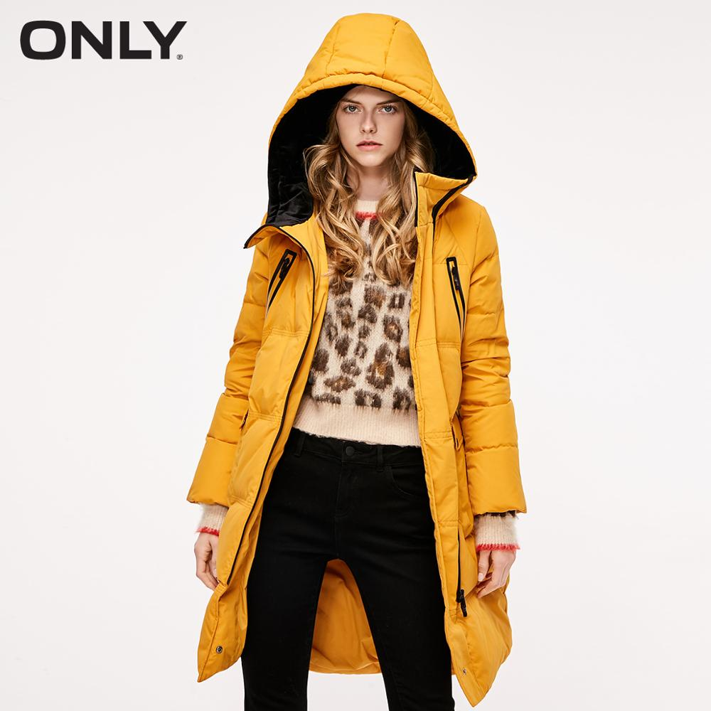 ONLY Women's Autumn Diagonal Zip Long Hooded Down Jacket  | 118312522