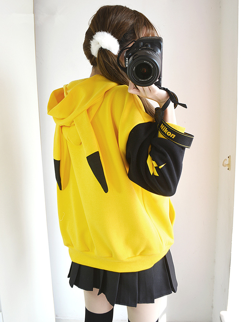 Image 4 - Pokemon Sun Moon Pikachu Coat Jacket Top Yellow Hoodies Pikachu Cosplay Costume Cartoon Hoodie Long Sleeve Pullover Autumn CoatAnime Costumes   -