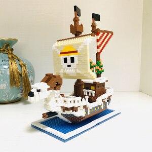 Image 2 - ZMS 3445 أنيمي قطعة واحدة لوفي الذهاب مرح القراصنة سفينة قارب نموذج ثلاثية الأبعاد لتقوم بها بنفسك كتل الماس الصغيرة بناء لعبة للأطفال لا صندوق